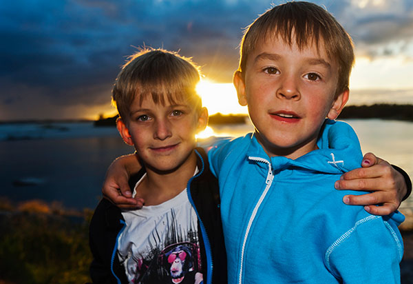 Portraits two boys.