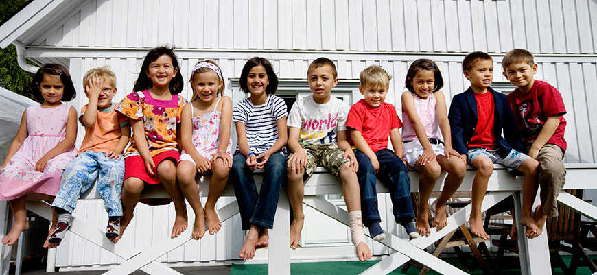 Portrait of group of children.
